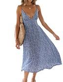 cheap Print Dresses-Women's Vacation Sexy Maxi Chiffon Swing Dress Backless Print Strap Summer Light Blue L XL XXL