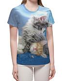hesapli Tişört-Kadın's Tişört Desen, Zıt Renkli / 3D / Hayvan Temel / Abartılı Açık Mavi