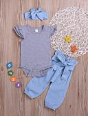 זול סטים של ביגוד לתינוקות-סט של בגדים כותנה שרוולים קצרים אחיד בסיסי בנות תִינוֹק / פעוטות