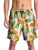 זול מכנסיים ושורטים לגברים-בגדי ריקוד גברים ספורטיבי / בסיסי רזה צ'ינו / שורטים מכנסיים - צבעים מרובים / פירות ספורטיבי / דפוס צהוב L XL XXL