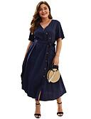 hesapli Kadın Trençkotları-Kadın's Temel Sokak Şıklığı A Şekilli Kılıf Elbise - Solid, Bağcık Midi