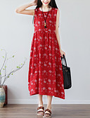 olcso Női ruhák-Női Kínai A-vonalú Ruha - Nyomtatott, Mértani Midi