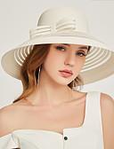 billige Hatter til damer-Dame Fest Aktiv søt stil Solhatt Blomstret Chiffon Blonder Alle årstider Hvit Svart Kakifarget
