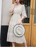 abordables Robes Femme-Femme Mi-long Gaine Robe Beige Bleu clair M L XL Manches Courtes