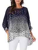 cheap Women's T-shirts-Women's Boho Oversized Blouse - Polka Dot / Floral / Leopard Print Yellow L
