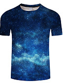 levne Pánské kalhoty a kraťasy-Pánské - Galaxie / 3D Tričko, Tisk Vodní modrá XXXXL