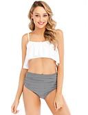 levne Bikini a plavky-Dámské Bílá Tankini Plavky - Proužky M L XL Bílá