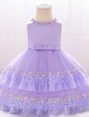זול סטים של ביגוד לתינוקות-שמלה כותנה עד הברך ללא שרוולים חרוזים / פפיון / רקום אחיד פעיל / בסיסי בנות תִינוֹק