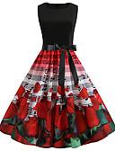 cheap Vintage Dresses-Women's Vintage Chinoiserie Swing Trumpet / Mermaid Skater Dress - Floral Geometric Plaid Lace up Patchwork Print Red L XL XXL