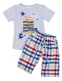 hesapli Erkek Çocuk Kıyafet Setleri-Çocuklar Toddler Genç Erkek Actif Karton Kısa Kollu Pamuklu Kıyafet Seti Gri