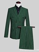 זול חליפות-אפור / ירוק כהה פסים גזרה מחוייטת פוליסטר חליפה - פתוח Single Breasted Four-button