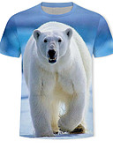 זול חולצות לגברים-3D / חיה / אנימציה טישרט - בגדי ריקוד גברים דפוס כחול בהיר