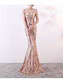 preiswerte Abendkleider-Trompete / Meerjungfrau Schulterfrei Pinsel Schleppe Pailletten Kleid mit Paillette durch LAN TING Express
