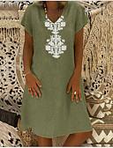 Χαμηλού Κόστους T-shirt-Γυναικεία Πουκάμισο Γεωμετρικό Λαιμόκοψη V Φαρδιά Πράσινο Ανοικτό XXXL