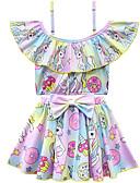 זול בגדי ים לבנות-בגדי ים שרוול קצר פפיון דפוס Unicorn פעיל / סגנון חמוד בנות ילדים / פעוטות