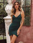 hesapli Kadın Elbiseleri-Kadın's Zarif A Şekilli Elbise - Solid, Arkasız Dantelli Diz üstü