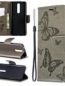 זול מגנים לטלפון-מגן עבור נוקיה Nokia 5.1 / Nokia 3.1 / Nokia 2.1 ארנק / מחזיק כרטיסים / עם מעמד כיסוי מלא אחיד / פרפר קשיח עור PU
