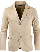 hesapli Erkek Blazerları ve Takım Elbiseleri-Erkek Blazer, Solid Çentik Yaka Polyester Siyah / Bej / Koyu Mavi XXL
