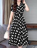 tanie W stylu vintage-Damskie Linia A Sukienka - Geometric Shape, Nadruk Midi