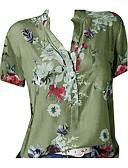 hesapli Bluz-Kadın's V Yaka Gömlek Desen, Geometrik Büyük Bedenler Bej