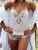 cheap Sexy Bodies-Women's Super Sexy Teddy Nightwear - Lace Solid Colored White S L XL