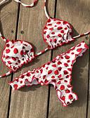 cheap Bikinis-Women's Basic Red Triangle Cheeky Bikini Swimwear - Floral Print S M L Red