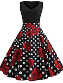 hesapli Kadın Elbiseleri-Kadın's Temel Çan Elbise - Çiçekli, Kırk Yama Desen Midi