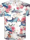 billige T-shirts og undertrøjer til herrer-Rund hals Tynd Herre - Blomstret Bomuld, Trykt mønster Plusstørrelser T-shirt Hvid XXL
