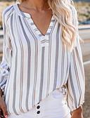 ราคาถูก เสื้อเอวลอยสำหรับผู้หญิง-สำหรับผู้หญิง เสื้อสตรี ลายพิมพ์ คอวี ลายแถบ ขาว M
