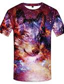 levne Pánská tílka-Pánské - Galaxie / 3D / Zvíře Větší velikosti Tričko, Tisk Kulatý Fialová XXXL