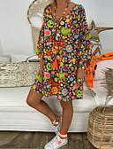 זול שמלות נשים-מעל הברך גיאומטרי - שמלה ישרה בגדי ריקוד נשים