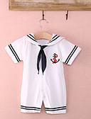 abordables Sets de Vêtements pour Garçon Bébés-bébé Garçon Actif / Basique Fleur Manches courtes Coton Une-Pièce Blanc / Bébé