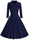 povoljno Vintage kraljica-Žene Vintage Swing kroj Haljina - Naborano, Jednobojni Midi
