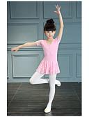 זול סטים של ביגוד לבנות-בגדי ריקוד לילדים תלבושות בנות הדרכה / הצגה תחרה / 100% כותנה סלסולים שרוולים קצרים טבעי / סרבל תינוקותבגד גוף
