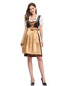hesapli Oktoberfest-Kasım Festivali üstü dar altı geniş elbise Trachtenkleider Kadın's Elbise Bavyera Kostüm Altın