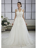cheap Wedding Dresses-A-Line V Neck Chapel Train Lace / Tulle Made-To-Measure Wedding Dresses with Beading / Appliques / Lace by ANGELAG