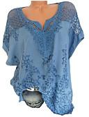 billige Skjorter til damer-Løstsittende V-hals Store størrelser Skjorte Dame - Ensfarget Svart