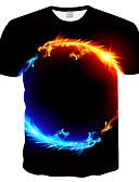 billige T-shirts og undertrøjer til herrer-Rund hals Tynd Herre - 3D / Dyr Trykt mønster T-shirt Plusstørrelser T-shirt Sort XXXL