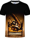 hesapli Erkek Tişörtleri ve Atletleri-Erkek Pamuklu Yuvarlak Yaka Tişört Desen, 3D Büyük Bedenler Siyah