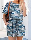 זול חליפות שני חלקים לנשים-L XL XXL שרוכים לכל האורך / דפוס להסוות, Rompers ישר אפור ירוק צבא חאקי סגנון רחוב / פאנק & גותיות בגדי ריקוד נשים