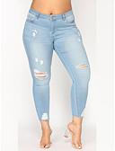 cheap Shorts-Women's Street chic Plus Size Slim Chinos Pants - Solid Colored Hole Cotton Blue XXXXL XXXXXL XXXXXXL