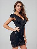 hesapli Mini Elbiseler-Sütun V Yaka Kısa / Mini Payetli Payet ile Kokteyl Partisi Elbise tarafından TS Couture®