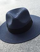 preiswerte Damenhüte-Damen Büro Aktiv Grundlegend,Stroh Strohhut Sonnenhut Solide Frühling Sommer Marineblau Rosa / Weiß Khaki