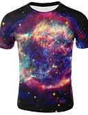 hesapli Erkek Tişörtleri ve Atletleri-Erkek Yuvarlak Yaka Tişört Galaksi AB / ABD Beden Koyu Mavi XXL