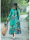 abordables Robes Imprimées-Femme Rétro Vintage Midi Trapèze Robe - Mosaïque Imprimé, Fleur Vert Rouge Jaune L XL XXL Manches Longues