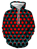 cheap Men's Tees & Tank Tops-Men's Plus Size Basic / Casual / Daily Hoodie - Geometric / Color Block / 3D Hooded Red XXXL