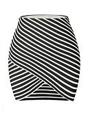 hesapli Kadın Etekleri-Kadın's Actif Temel Bandaj Etekler - Çizgili Siyah M L XL / İnce