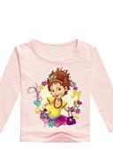 baratos Moletons Para Meninas-Infantil Bébé Para Meninas Básico Estampado Estampado Manga Longa Algodão Camiseta Cinzento