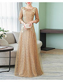 preiswerte Abendkleider-A-Linie Schmuck Boden-Länge Tüll Kleid mit Applikationen / Seitlich drapiert durch LAN TING Express