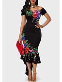abordables Vestidos de Mujer-Mujer Corte Bodycon Vestido Floral Asimétrico